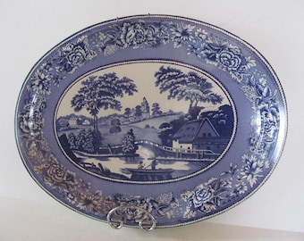 20x15 Blue Platters English Blue and White Platters Extra Large Platter Vintage Metal Blue Platter Large Serving Platter for Wall Decor