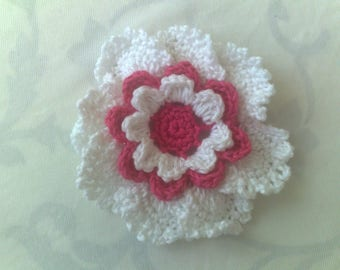 Crocheted Flower in 3.5 inches in red and white