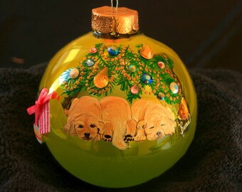 Hand Painted Ornament-3 Lab Puppies Playing W/3D Effect-Item 728