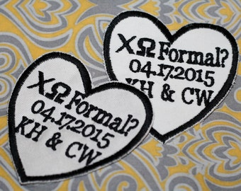 Set of 2 Iron on wedding tie patches, Groom tie patches also for sorority tie patches, father of the bride tie patch