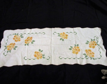 Vintage Table Runner 38 X 15 hand embroidery yellow flowers