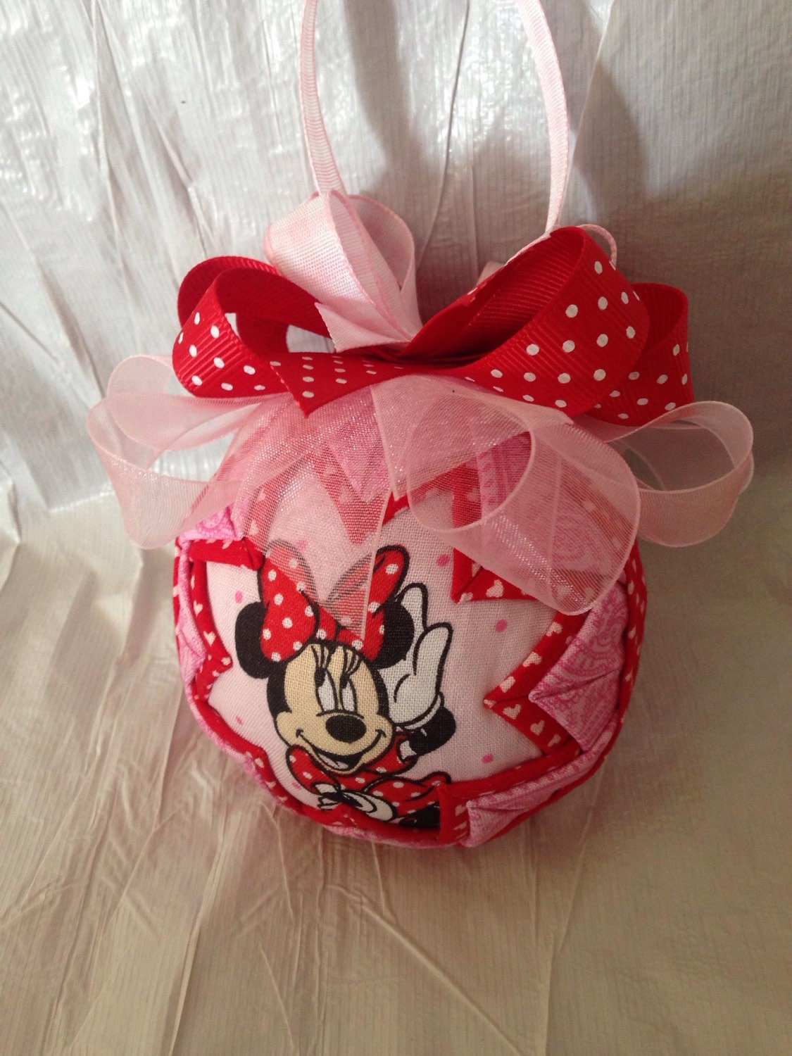 Minnie Mouse Inspired Ornament Quilted Christmas Ornament