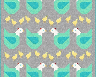 Chicken Ranch Quilt Pattern, PDF, Instant Download, quilt, modern patchwork, mama chicken, hen, baby chick, farm, farmyard