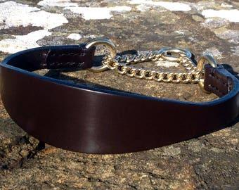Best English Bridle Leather Martingale Dog Collar for Lurcher/Deerhound/Saluki/Borzoi/Sighthound/Whippet/Bedlington/Italian Greyhound/Puppy