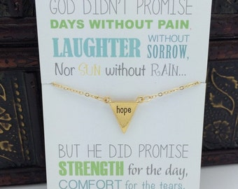 Gift of Hope, miscarriage gift, infertility necklace, gold hope necklace with message of hope, gift of encouragement for her, small simple