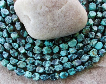 """African Turquoise Nugget Beads Blue Green Natural Gemstone Jasper Beads 16"""" Approx 8X8 - 8 x10 MM"""