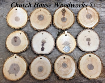 "DIY 25 Large 3""+ Wood Slice Ornaments use for Christmas, rustic weddings, country decor, tree slice ornament, dark"