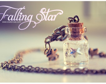 Swarovski star Tiny glass Bottle Necklace, with glitter stars. Glass Vial necklace miniature Bottle charm Pendant Inspirational Gift