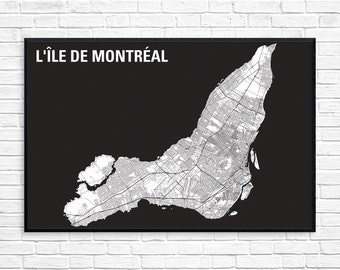 LARGE 24x36in Montreal Island Map - GRANDE Carte de l'île de Montréal - Map Art - Montreal City Map - Black