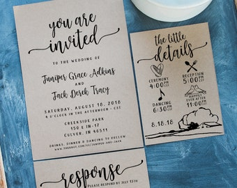 Simple Wedding Invitation Set // Simple Wedding Invitation Template // Printable Invitation Templates // Wedding Invites