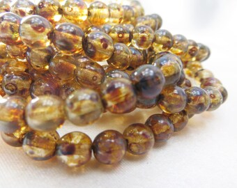 6mm Gold Brown Amber Picasso Czech round druk jewelry beads - 1 strand 30 beads