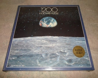 New ! View to Earth 1200 Piece Puzzle PC **by F.X. Schmid Exquisit** Outer Space Moon Planet Blue Pearl Star Sun Photograph NASA M# 98320.1