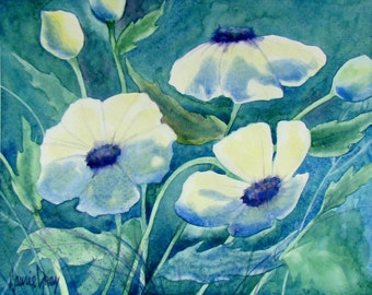 Watercolor - Fine Art - Impressionist Painting - White Poppies - Floral Original - Flowers - Peaceful - Blue Green Purple