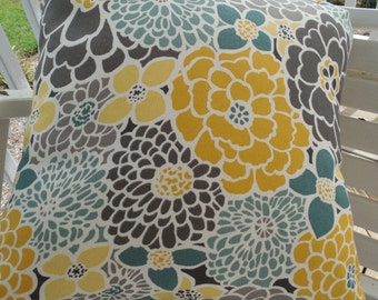 Gray Floral Outdoor Pillow Cover Patio Porch Decrative Throw Pillow Accent Cushion Spa Tones Yellow Gray Seafoam