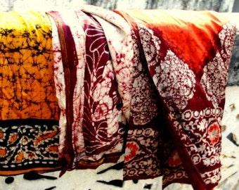 Batik Silk Sari Used Ideal for Nuno felting or Crafting Designs Bulk lot of 20 Sari Assorted Colors