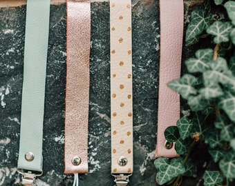 Pacifier Clips, Leather Pacifier Clips