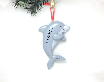 Dolphin Personalized Christmas Ornament / Ocean Ornament / Hand Personalized Christmas Ornament / We Add Name or Message