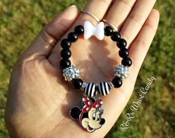 Minnie Mouse Bracelet, Black, White, Red Charm Bracelet, Stocking Stuffers,Girls Handmade, Custom, Beaded Jewelry