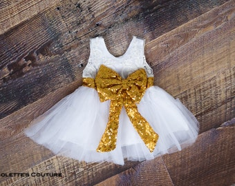 Gold Sequin Infant Flower Girl Dress, White Lace, Tulle Wedding, Baby Dress, Boho Chic, Formal, Couture Style, Christening Baptism