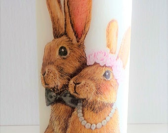 Mr. & Mrs. candle, wedding candle, decorative pillar candle, wedding gift, rabbit lovers, wedding present, decoupage candle, rabbit candle