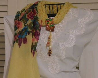 "Scarves Yellow Floral Polka-Dot with Clay Pendant ""Simply Focal"""