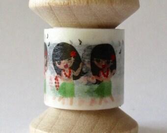 SALE From 808-Tape, Hawaiian Style Washi Tape Exclusive Print, HULA GIRL, 2 Yards on Mini Spool
