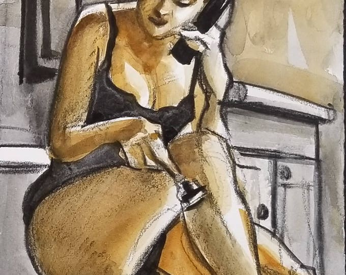 Once Every Couple of Days, 9x12 inches, watercolor and crayon on cotton paper by Kenney Mencher