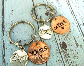 Hand Stamped Couples Key Chains,His and Her Keychains,Penny Keychain,Yours & Mine Key Chains,Set of 2 Keychains,Spouse Gift,Anniversary Gift