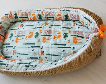 Toddler nest,baby cocoon,baby nest with foxes, babynest with bears and squirells,woodland nursery,cosleeper,baby shower gift,new baby gift