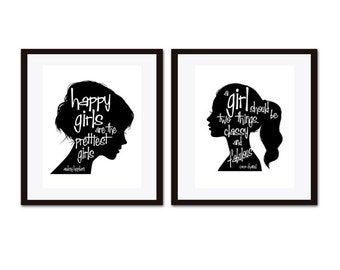 Audrey Hepburn Quote, Audrey Hepburn Wall Art,  Black & White  Art, Coco Chanel Quote, Inspirational Quote, Girls Room Decor, Art for Girl