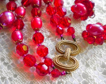 Vintage MARVELLA  Red Glass  Crystals & Beads Necklace and Earrings Set 1960s