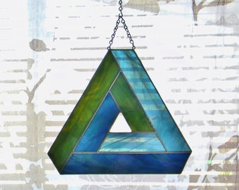 Impossible Geometry Stained Glass Suncatcher Penrose Triangle in Blue and Green - Ready to Ship