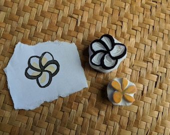 Frangipani Stamp, Plumeria Stamp, Handcarved Rubber Stamp, Tropical Flower Stamp, Handmade