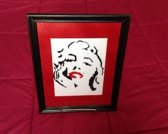 Counted Cross Stitch. Marilyn Monroe. Movie Star. Handmade.