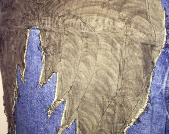 Denim Vest - 5 - Blue with Grey Angel Wings - Inspired by The Walking Dead's Daryl - Reused Recycled Repurposed - 5