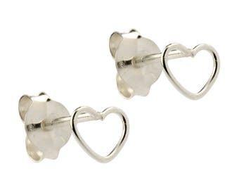 925 Sterling Silver Heart Outline Stud Earrings | Open Heart | Dainty | 5.50mm Width | 4.40mm Length | 0.60mm Depth | Fine Jewellery | SIEFF