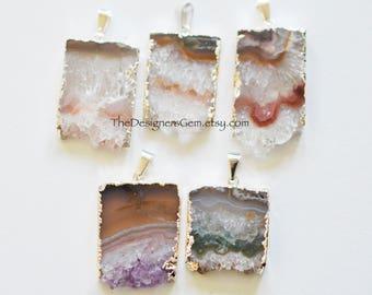 Amethyst Slice Pendant, Sterling Silver Amethyst Pendant, Silver Electroplate Pendant, Large Average 40x23mm