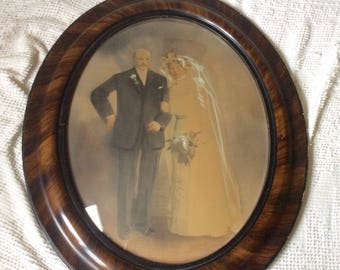 Antique wedding photo bubble glass tiger wood frame large. Free ship to US.