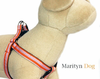 Stripe dog harness orange pink ribbon step in dog harness small dog harness large dog harness dog leashes and dog collars are available