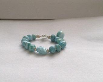 Turquoise jewelry Larimar bracelet Seafoam Caribbean bracelet Simple and minimalist fashion jewelry Valentines day gift