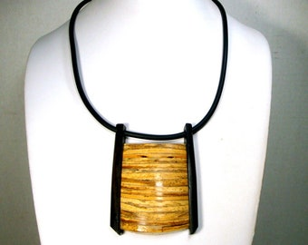 Very ZEN Bamboo Pendant Necklace, Rubber Cord, Framed in Wood, Black and Tan