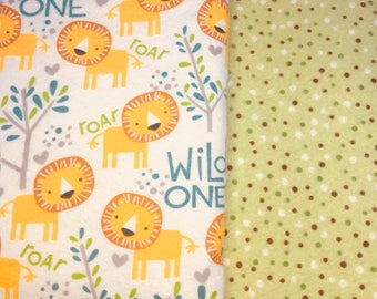 Made to order, Soft Flannel Receiving Blanket, Wild One, Lion, Polka Dot, Woodland Animals, Swaddle