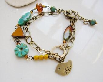 Little Bird Bohemian bracelet, Multi chain Beaded Bracelet, Turquoise, Rustic Bracelet, Redpeonycreations