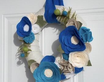 blue felt wreath - burlap wreath - felt wreath- summer wreath