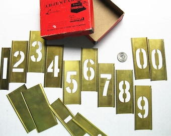 """Brass stencils. 2"""" Gothic numerals 0-9+. Reese's Stencils. Lettering. CH Hanson. Lettering. Sign making. Metal work. Numbering. Mixed media"""
