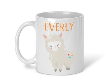 Kids Personalized Ceramic Mug - Llama Party with Name, Child Personalized Mug, Colored Rim and Handle, Color Heat Reactive