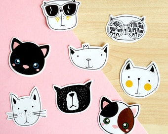 Cat Paper Stickers 45 pcs, cute cats stationery, cat planner stickers, cat lady gift, cat lover present, scrapbook journal stickers, diary