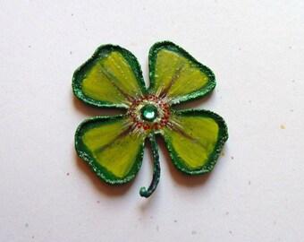 Stocking Stuffer, Gift Exchange, Secret Santa gift, Hand painted magnet, Shamrock magnet, Locker magnet, Green Clover,