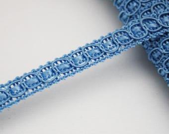 Blue tassel, 8 mm, 1 m, blue stripe trim