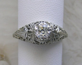 Antique Engagement Ring Filigree Art Deco Style Old European Cut Diamond 0.50 Ct.